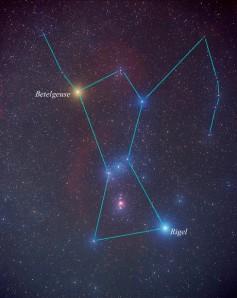 Betelgeuse na constelación de Orión. Fonte: http://www.yalescientific.org/2011/05/betelgeuse-ticking-time-bomb/