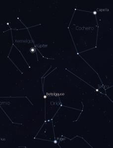 Captura do Stellarium. Capella e o seu entorno, con Xúpiter en Xéminis (non sempre está aí). Algunhas das estrelas que se ven xa falamos delas, doutras falaremos.