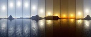 Evolución do tipo de luz durante o día