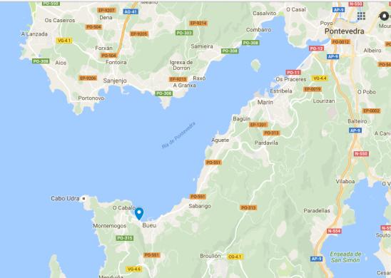 Lugar onde se instalou o SQM, ao pé da Ría de Pontevedra.