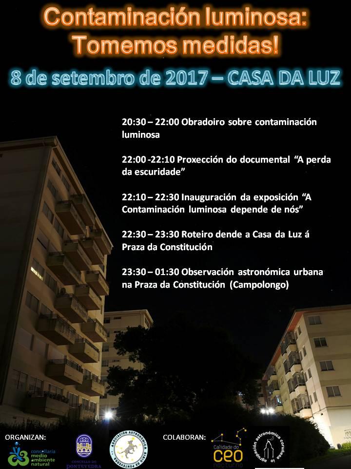 Cartel Contaminación Luminosa 8 setembro 2017 Pontevedra 2